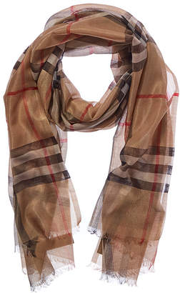Burberry Metallic Check Wool & Silk-Blend Scarf