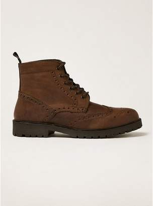 Topman Mens Brown Tan Leather Empire Brogue Boots