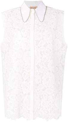 No.21 lace crystal trim sleeveless blouse