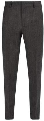 Stella McCartney Davie Herringbone Wool Trousers - Mens - Grey