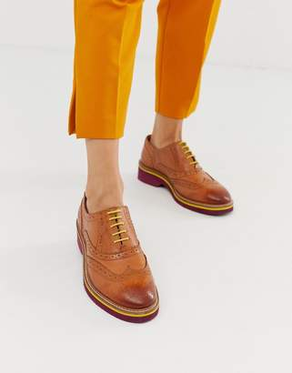 Asos Design DESIGN Misse leather brogues in tan