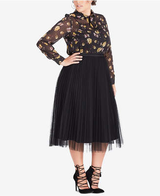 City Chic Plus Size Tulle A-Line Skirt
