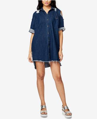 Rachel Rachel Roy Ripped Denim Shirtdress, Created for Macy's $129 thestylecure.com