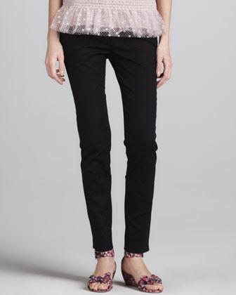 RED Valentino Slim Cropped Gabardine Pants, Black