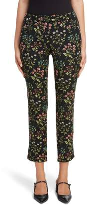 Erdem Floral Stretch Jacquard Crop Pants