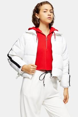 Topshop Womens Petite White Side Stripe Puffer Jacket - White