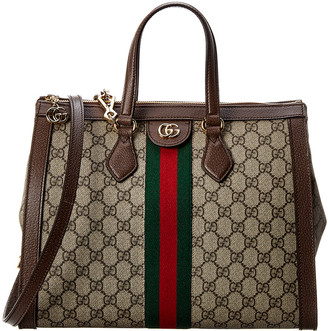 Gucci Ophidia Medium Gg Supreme Canvas & Leather Top Handle Tote