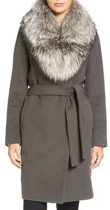 Women's Elie Tahari Wrap Coat With Genuine Fox Fur Collar $998 thestylecure.com