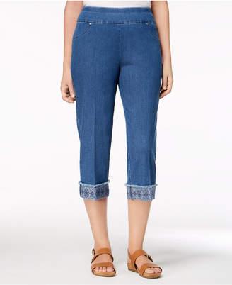 Alfred Dunner Petite Sun City Embroidered-Cuff Capri Jeans