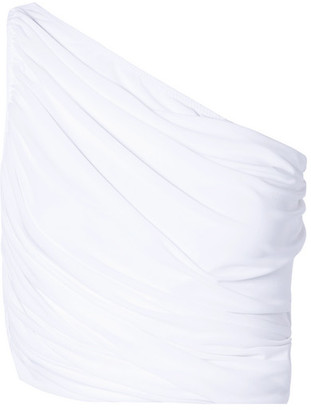 Norma Kamali Diana One-shoulder Ruched Bikini Top - White