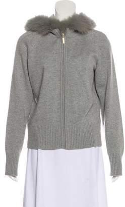 St. John Fur-Trimmed Cashmere Jacket