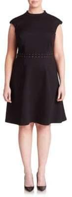 ABS by Allen Schwartz Lace-Up Detail Cap-Sleeve Dress