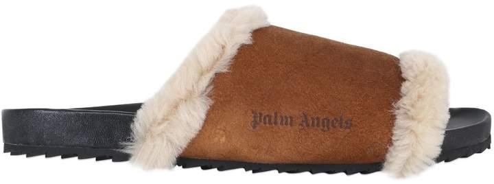 Palm Angels Shearling Slide Sandals