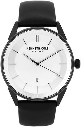 Kenneth Cole New York KC50190001 White Dial & Black Leather Strap Watch
