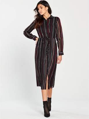 Warehouse Drawn Stripe Chiffon Midi Dress - Black