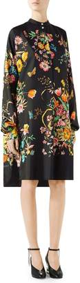 Gucci Floral Print Silk Shirtdress