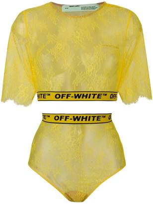 Off-White lace high waist briefs and tee