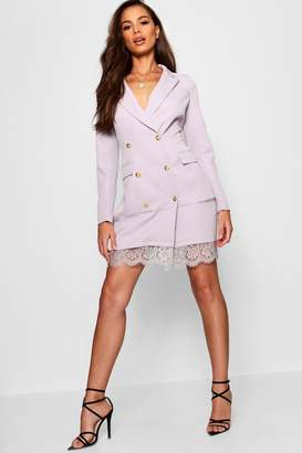 boohoo Annabel Blazer Dress With Lace Hem Detail