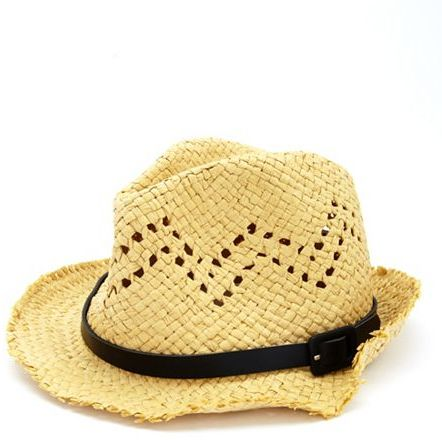 Charlotte Russe Belted Straw Fedora