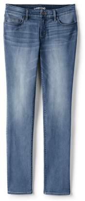 Lands' End Blue Womens Petite Not-Too-Low Rise Slim Leg Jeans, Indigo