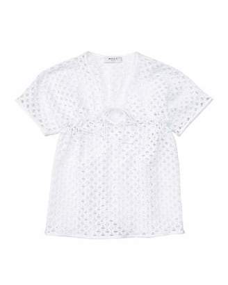 Milly Minis Short-Sleeve Netted Swim Coverup, White, Size 8-14 $150 thestylecure.com