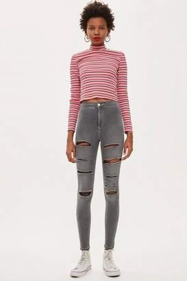 Topshop Grey Super Ripped Joni Jeans