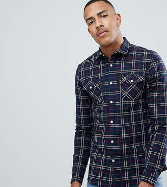 Asos Design DESIGN Tall stretch slim check western shirt in navy & red
