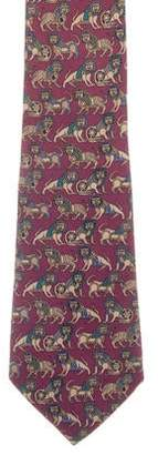 Salvatore Ferragamo Silk Lion Tie
