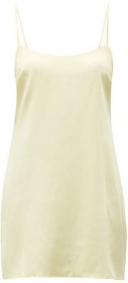Fleur of England Scoop Neck Silk Blend Satin Slip Dress - Womens - Yellow Multi