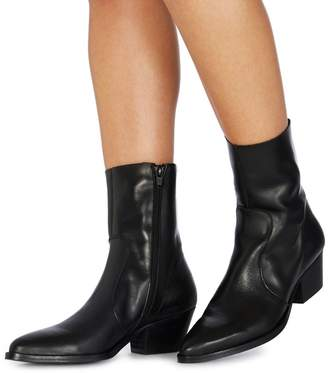 at Debenhams Faith Black Leather 'Bink' Mid Block Heel Ankle Boots