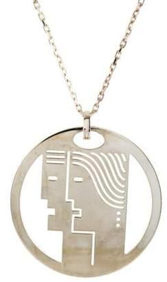 Bulgari Enigma by Gianni Cutout Face Pendant Necklace silver Enigma by Gianni Cutout Face Pendant Necklace