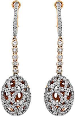 Piero Milano 18k Rose Gold Diamond Oval-Cutout Drop Earrings