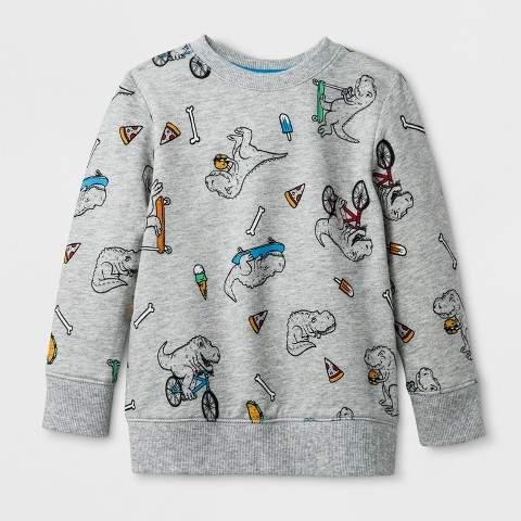 Toddler Boys' Printed Dinosaur Sweatshirt Heather Gray