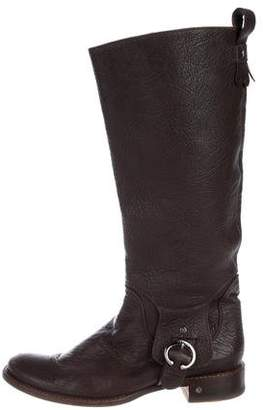 Celine Leather Round-Toe Boots