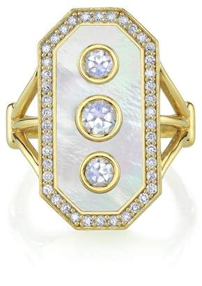 Mother of Pearl ARK Fine Jewelry Mother of Pearl, Diamond and Moonstone Devi Ring