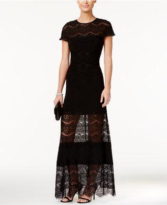 Betsy & Adam Illusion-Hem A-Line Gown $239 thestylecure.com