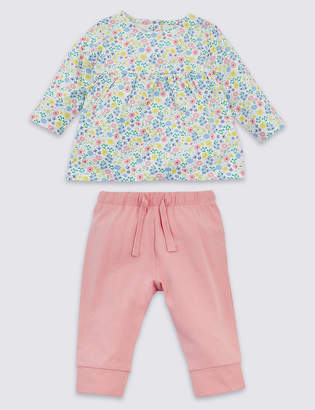 Marks and Spencer 2 Piece Organic Cotton Floral Top & Bottom Outfit