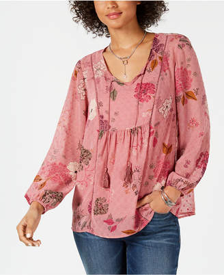 Style&Co. Style & Co Floral-Print Tassel-Tie Peasant Top, Created for Macy's