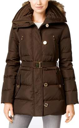 MICHAEL Michael Kors Women's Button Front Belted 3/4 Down w/ Faux Fur Black Outerwear XXL ... (M)
