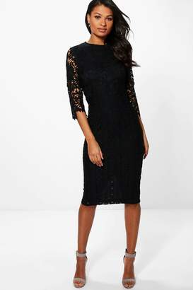 boohoo Boutique Kiki Lace 3/4 Sleeve Midi Dress