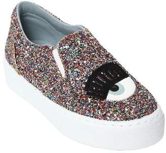 Chiara Ferragni Eye Multicolor Glitter Slip-On Sneakers