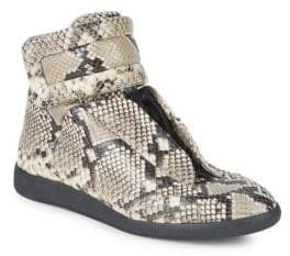Maison Margiela Python-Embossed Leather Sneakers