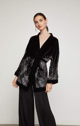 BCBGMAXAZRIA Embroidered Velvet Kimono