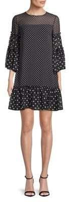 Eliza J Tiered Polka Dot Shift Dress