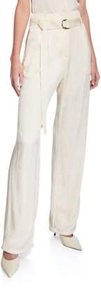 Sally LaPointe Snake Satin High-Rise Pants, Ivory