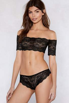 Nasty Gal What's Your Best Off-the-Shoulder Lace Bralette and Panty Se