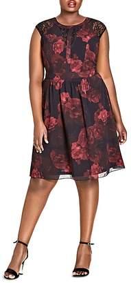 City Chic Rose-Print Lace-Inset Dress