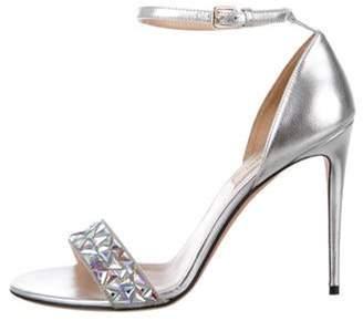 Valentino Embellished Leather Strap Sandals Silver Embellished Leather Strap Sandals