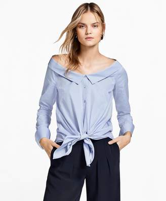 Brooks Brothers Off-the-Shoulder Striped Cotton Shirt