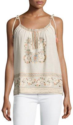 Love Sam Embroidered Shoulder Tassel Tank, Blush $129 thestylecure.com